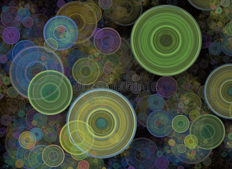 混乱五颜六色的圈子,五彩纸屑 抽象假日背景 意想不到的3D回报了几何数字分数维例证 库存例证