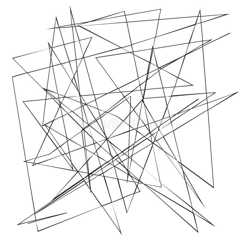 混乱任意,不规则,锋利线 与残破的曲线的抽象几何背景创造的纹理 库存例证