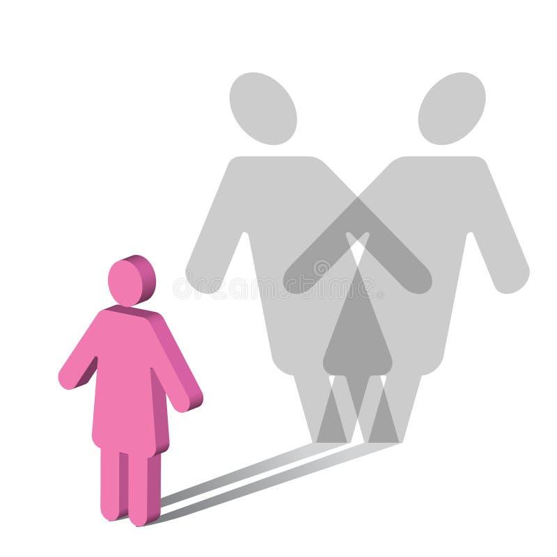 混乱女性心理学多种个性 库存例证
