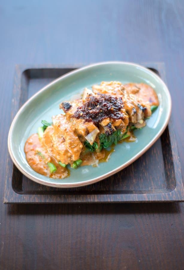 混乱油煎的花生调味汁 泰国的食物 免版税库存图片