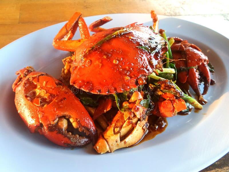混乱油煎的螃蟹用黑胡椒 库存图片