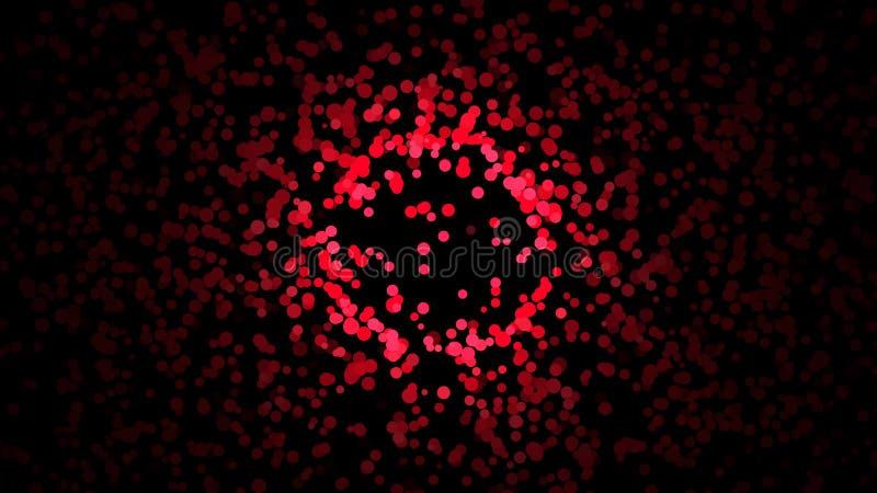 混乱继续前进黑背景的小五颜六色的微粒的美好的抽象 o ?? 皇族释放例证