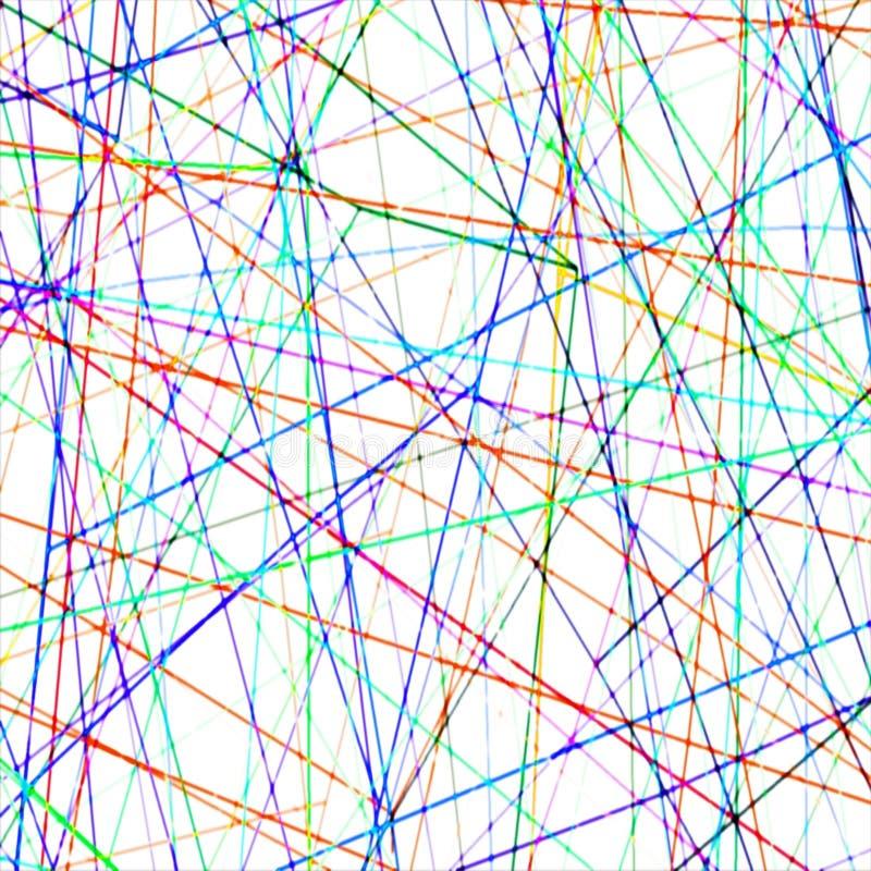 混乱被弄脏的五颜六色的线样式数字式背景 向量例证