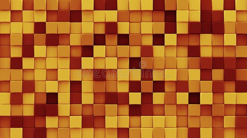 混乱被挤压的桔子立方体3D回报 库存例证