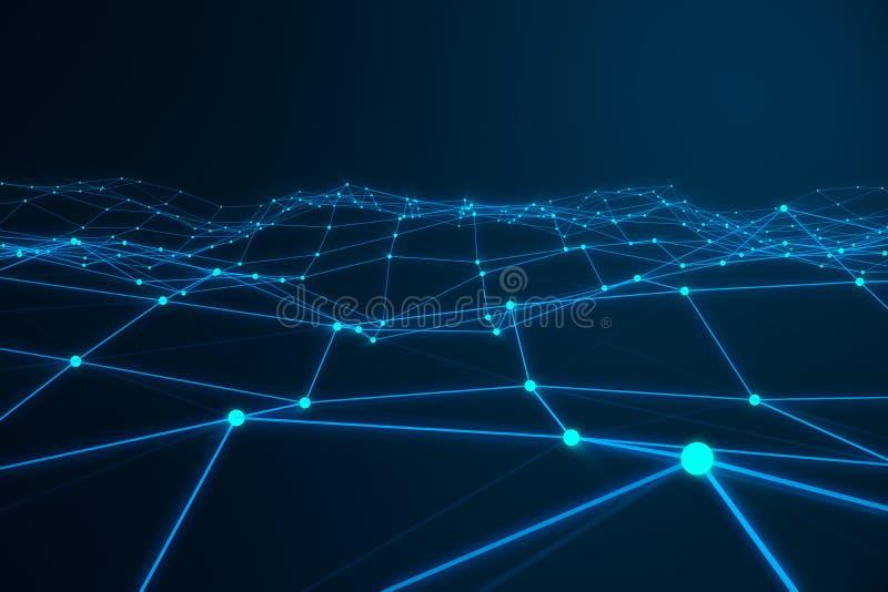 混乱结构抽象3d翻译  与线和球形的轻的背景在空的空间 未来派形状 皇族释放例证