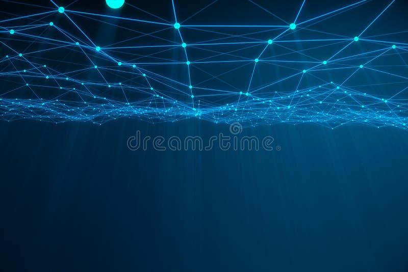 混乱结构抽象3d翻译  与线和球形的轻的背景在空的空间 未来派形状 库存例证