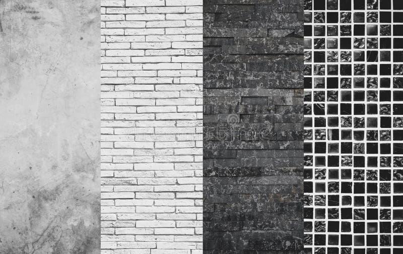 混凝土、砖、石板岩和锦砖纹理,墙壁和地板材料选择选择 库存图片