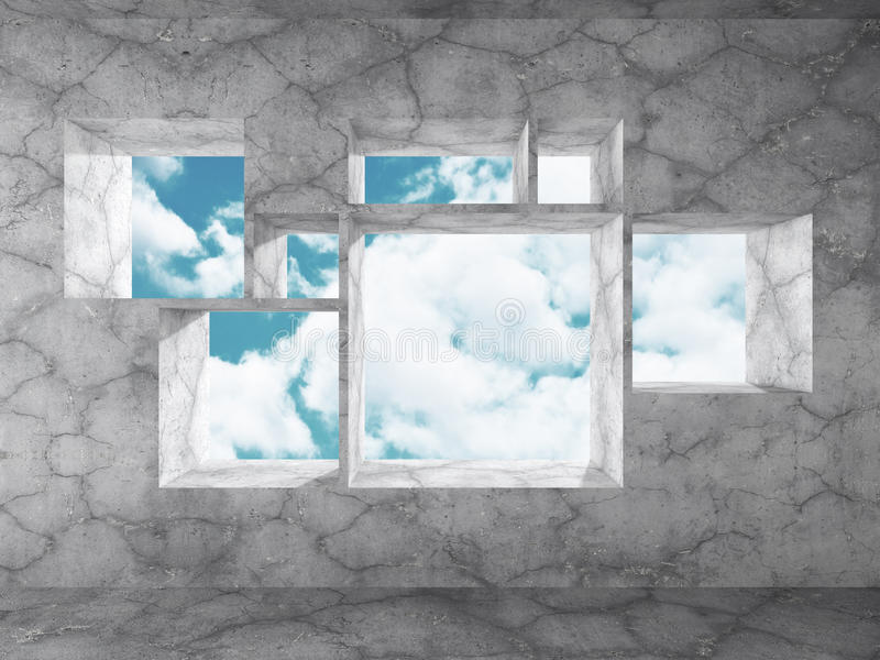 混凝土墙倒空室内部 与s的抽象建筑学 库存例证