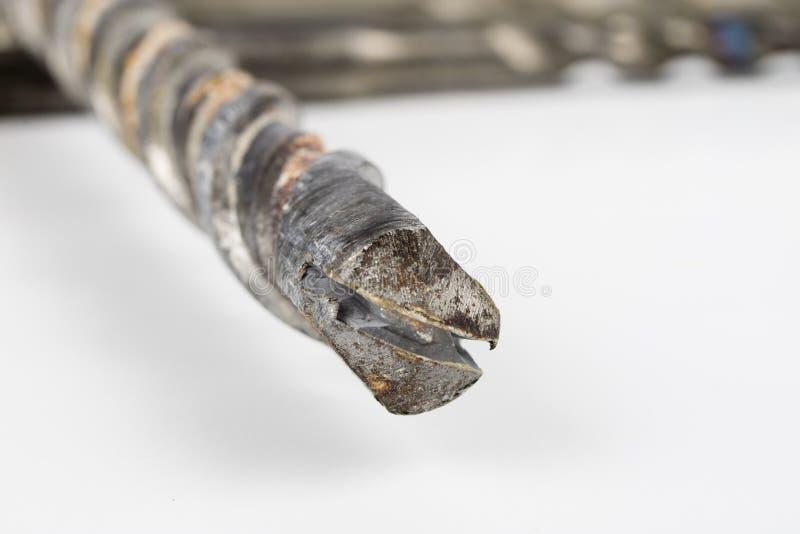 混凝土的老使用的钻头 为建筑的损坏的工具 图库摄影