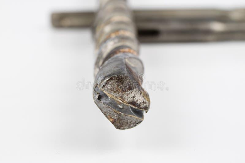 混凝土的老使用的钻头 为建筑的损坏的工具 免版税库存照片