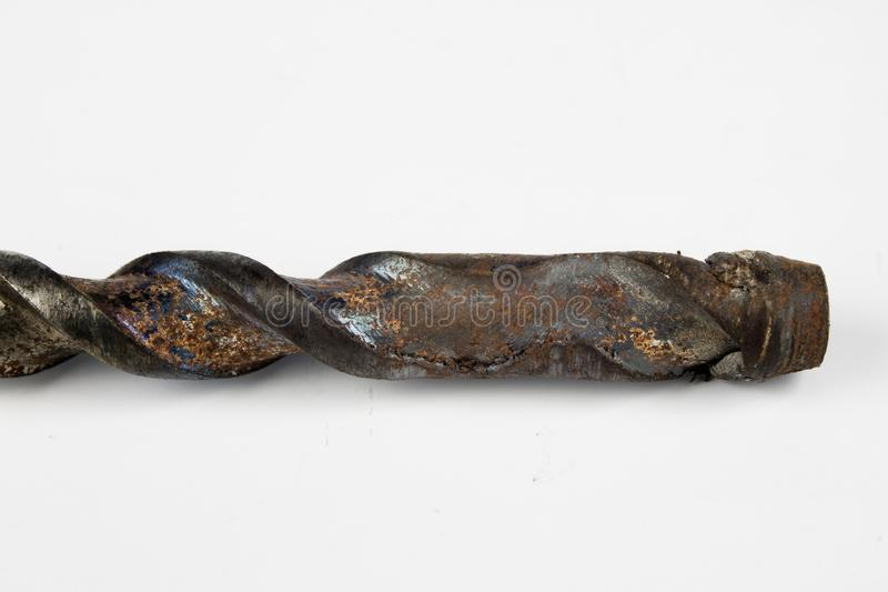 混凝土的老使用的钻头 为建筑的损坏的工具 免版税图库摄影