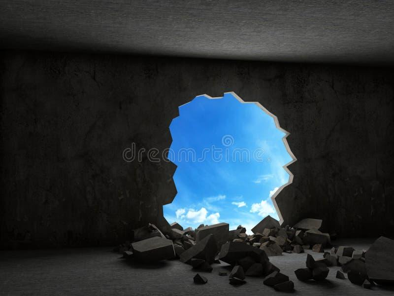 混凝土结构被毁坏的墙壁  库存例证