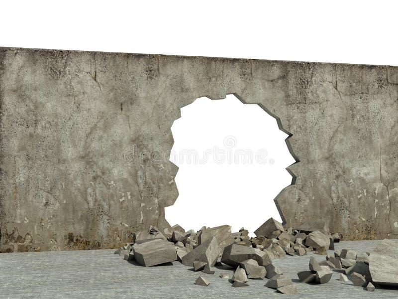 混凝土结构被毁坏的墙壁  向量例证