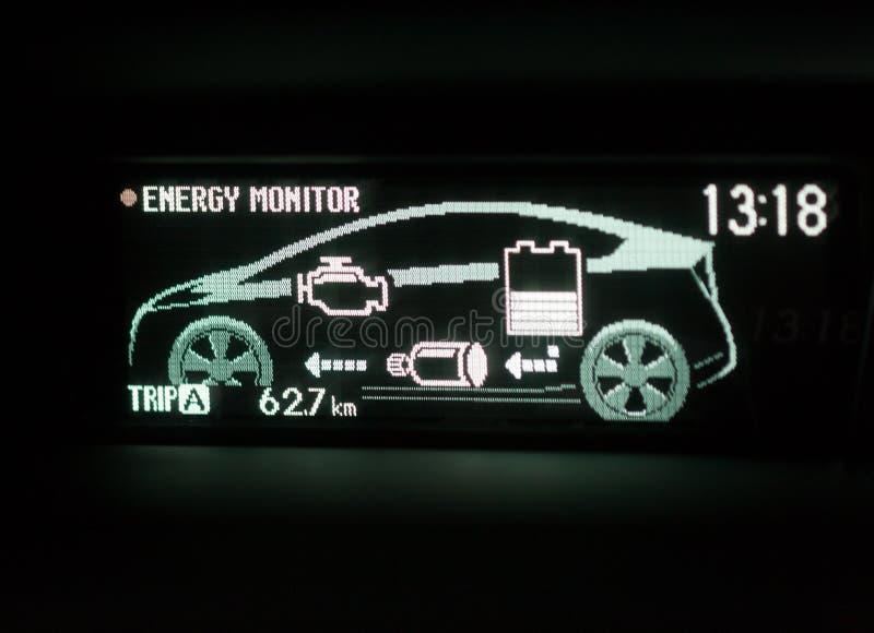 混合动力车辆显示屏 库存照片