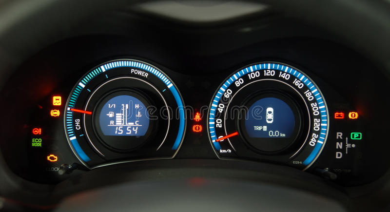 混合动力车辆仪表板 库存图片