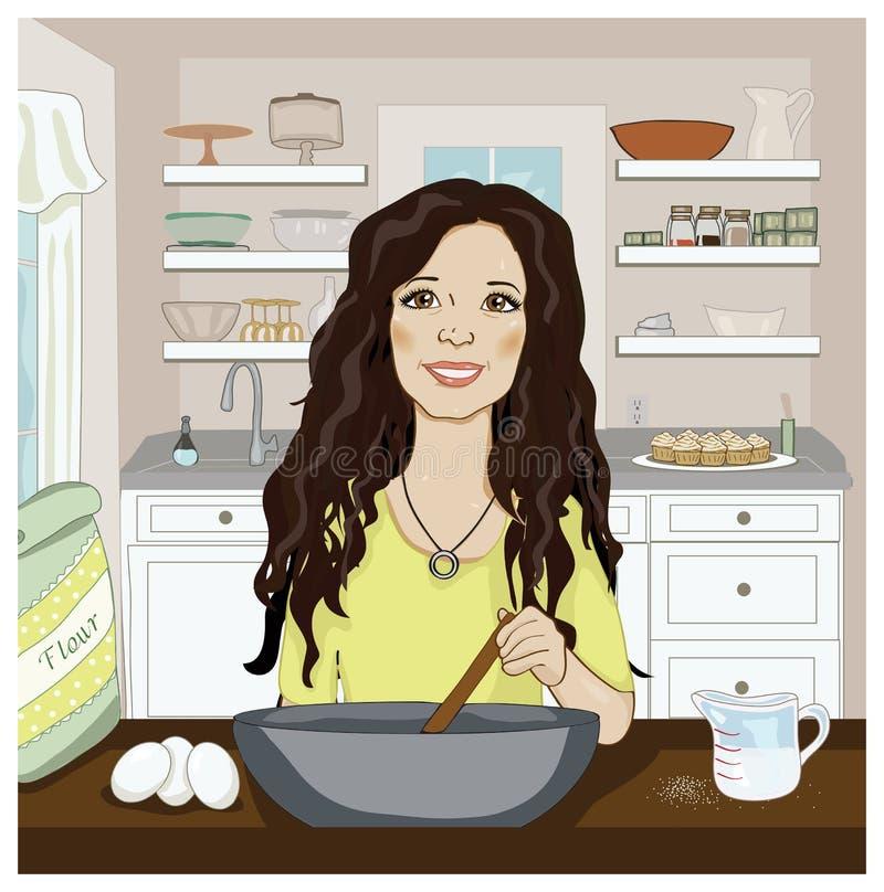 混合在厨房里的妇女 库存图片