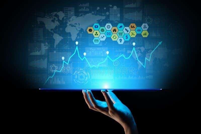 混合画法,商业情报逻辑分析方法 象、图表和图在虚屏上 投资和贸易的概念 库存例证