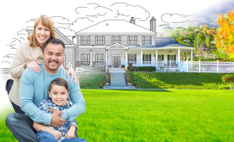 混合的族种拉美裔和白种人家庭在渐进性o前面 库存图片