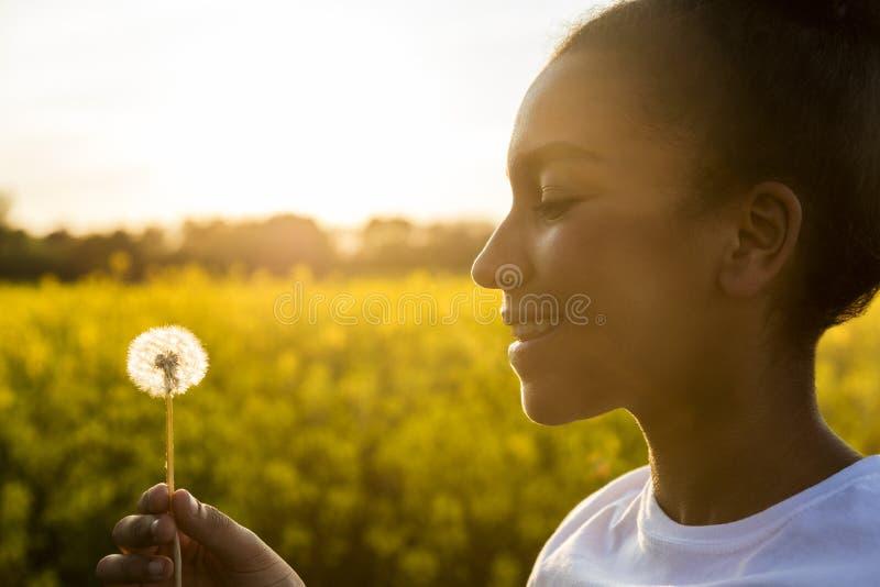 混合的族种非裔美国人的女孩少年蒲公英花 免版税库存图片