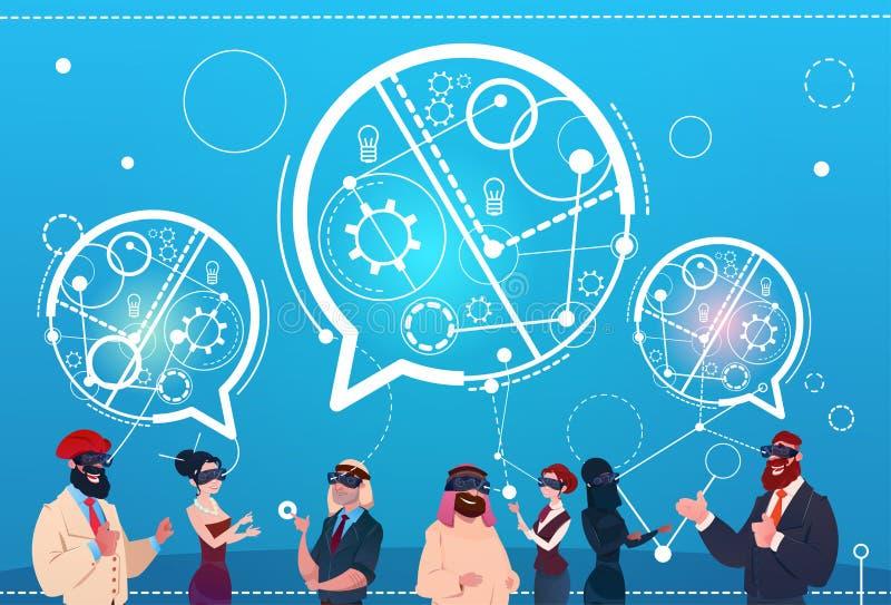 混合种族人小组穿戴数字式现实玻璃闲谈起泡社会网络通信概念 向量例证