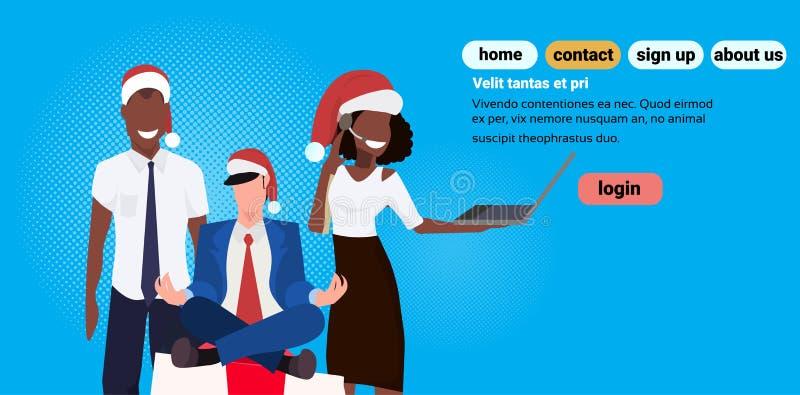 混合种族佩带红色帽子开会莲花姿势礼物盒礼物的商人使用膝上型计算机母公卡通人物 库存例证