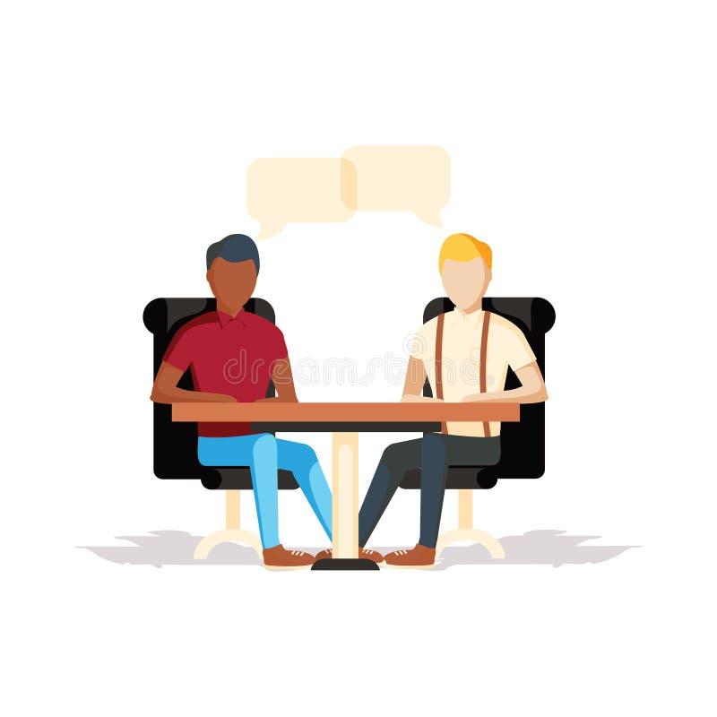 混合种族商人坐的办公桌 向量例证