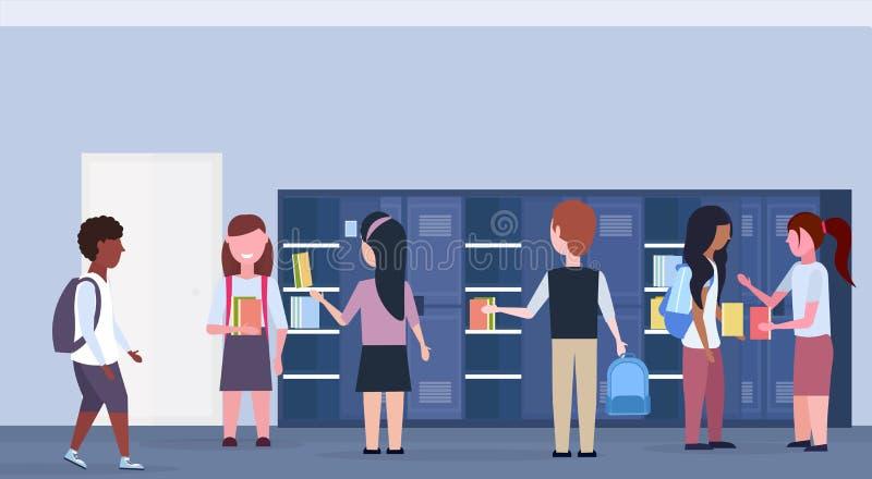 混合种族采取书的学童小组在水平衣物柜现代学校走廊内部教育的概念外面 向量例证