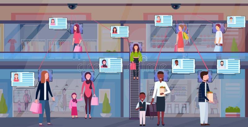 混合走现代购物中心证明面部公认概念安全监控相机监视的种族访客 皇族释放例证