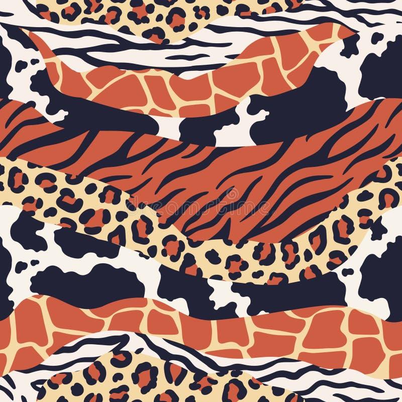 混杂的动物皮毛印刷品 徒步旅行队纹理混合,豹子、斑马和虎皮样式 豪华动物构造无缝 库存例证