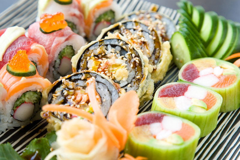 混杂的寿司 免版税库存照片
