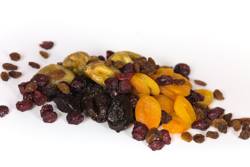 混杂的干果子堆,杏子,李子,图 免版税库存照片