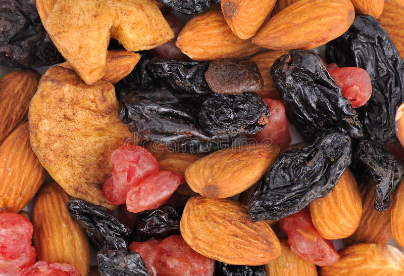 混杂的干Fruits.Crannberries堆,葡萄干 免版税库存照片