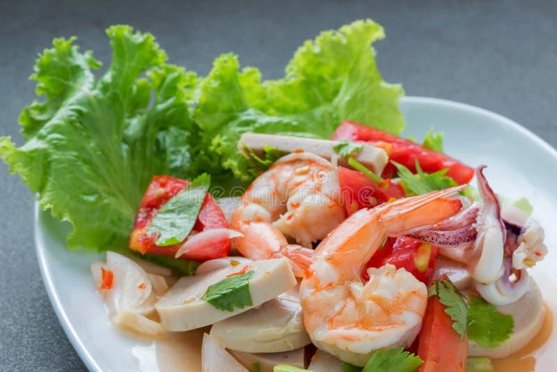 混杂的海鲜沙拉 免版税库存照片
