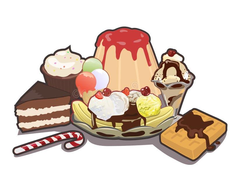 混杂的甜点 皇族释放例证