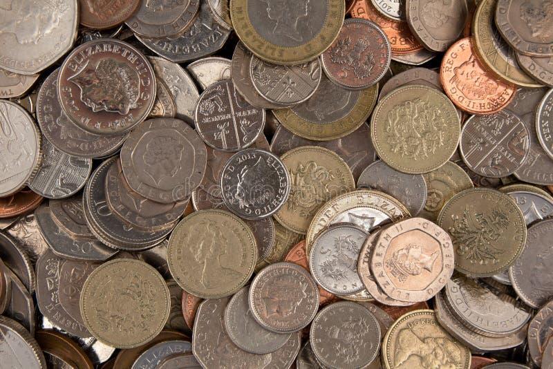 混杂的英国硬币 免版税库存照片