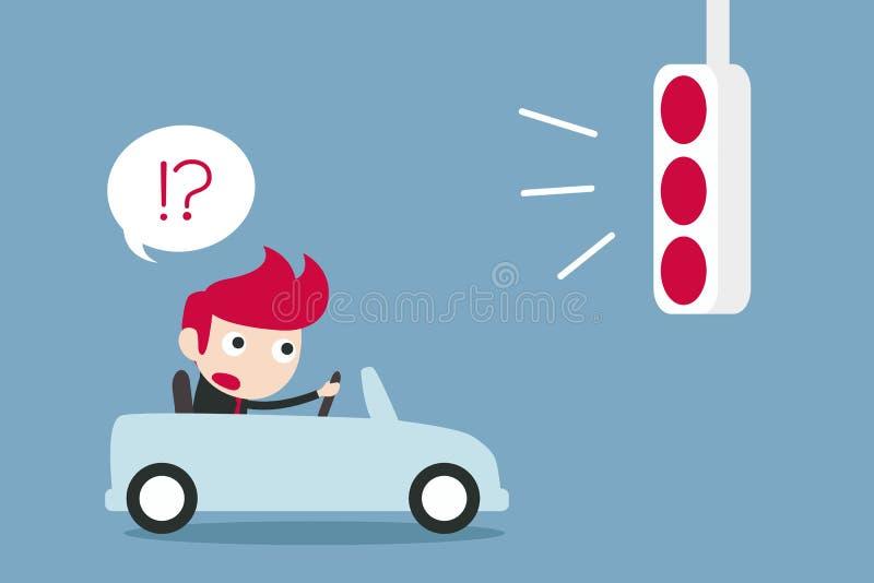 混淆与红色红绿灯的商人 向量例证