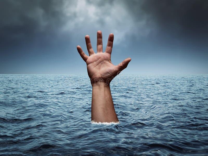 淹没手在风雨如磐的海 库存图片