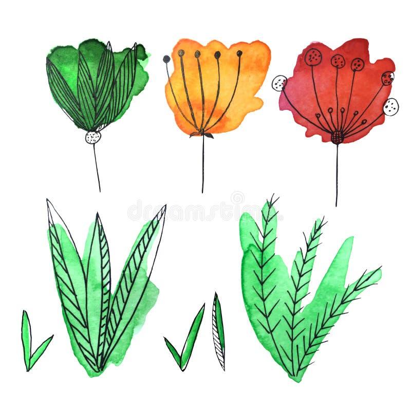 淹没水彩花和leafes的手 皇族释放例证