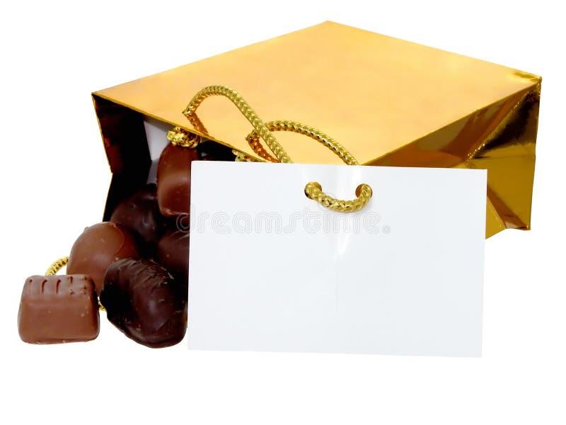 添加袋子巧克力文本 免版税库存照片