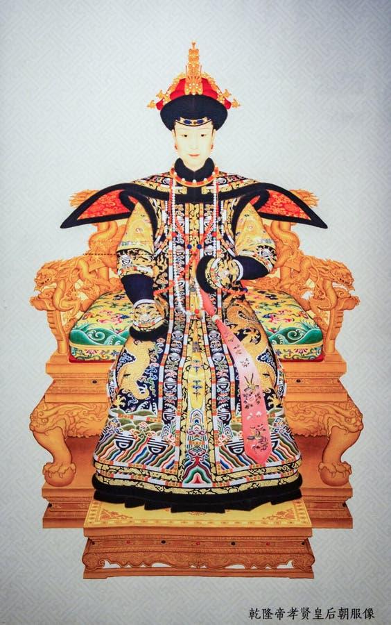 清代的皇帝乾隆和女王/王后在中国 免版税库存图片