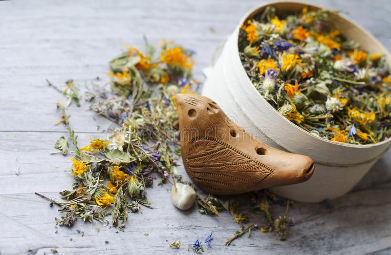 清凉茶用伊冯茶、矢车菊、金盏草、石南花和麝香草 健康和长寿的钥匙 图库摄影
