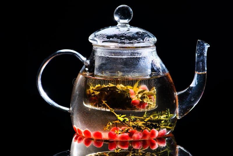 清凉茶用桂香、豆蔻果实和康乃馨在玻璃茶壶 库存照片