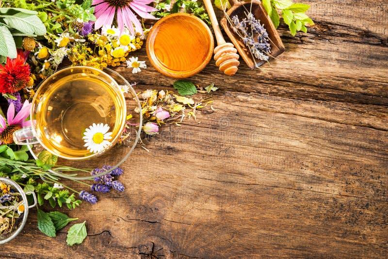 清凉茶用蜂蜜 免版税库存图片