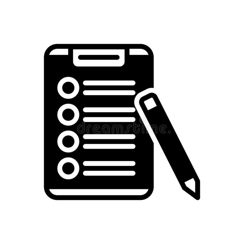 清单、剪贴板和报告的黑坚实象 库存例证