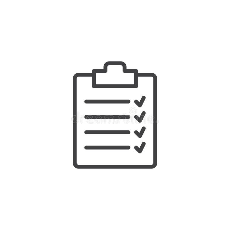 清单剪贴板线象 库存例证