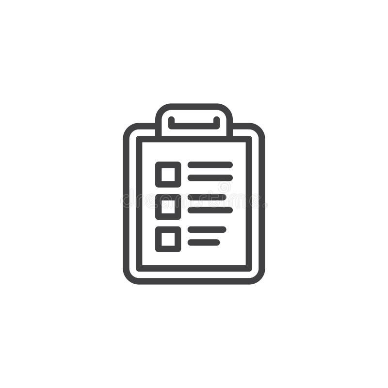 清单剪贴板线象 向量例证