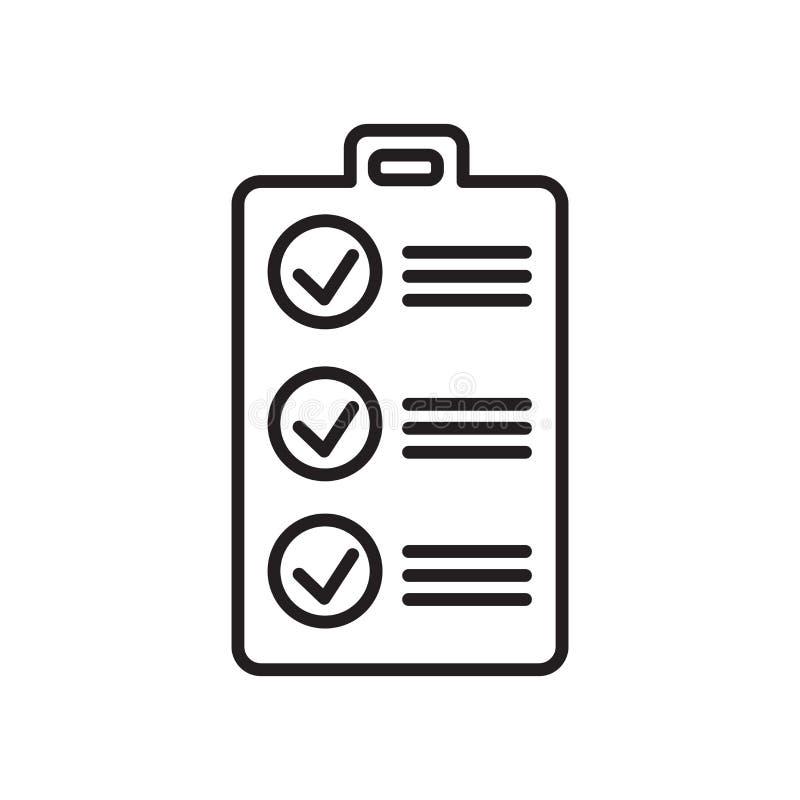 清单在白色背景、清单标志、标志和标志隔绝的象传染媒介在稀薄的线性概述样式 皇族释放例证