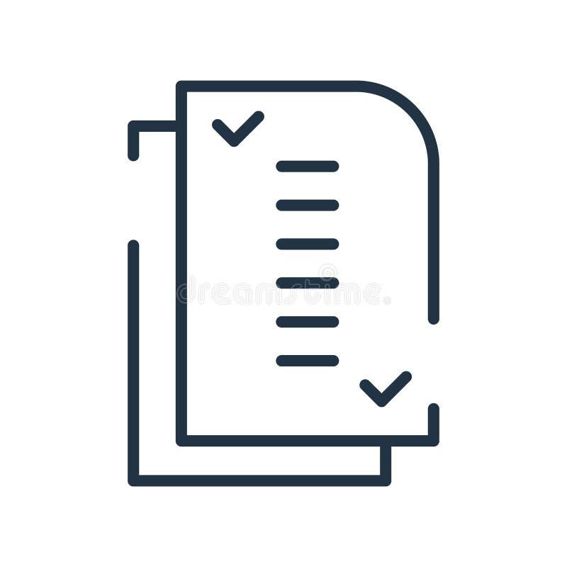 清单在白色背景、清单标志、线标志或在概述样式的线性元素设计隔绝的象传染媒介 向量例证