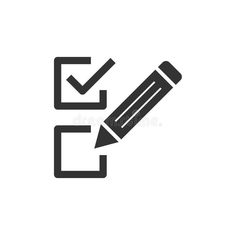 清单文件在平的样式的标志象 勘测在白色被隔绝的背景的传染媒介例证 校验标志横幅事务 皇族释放例证