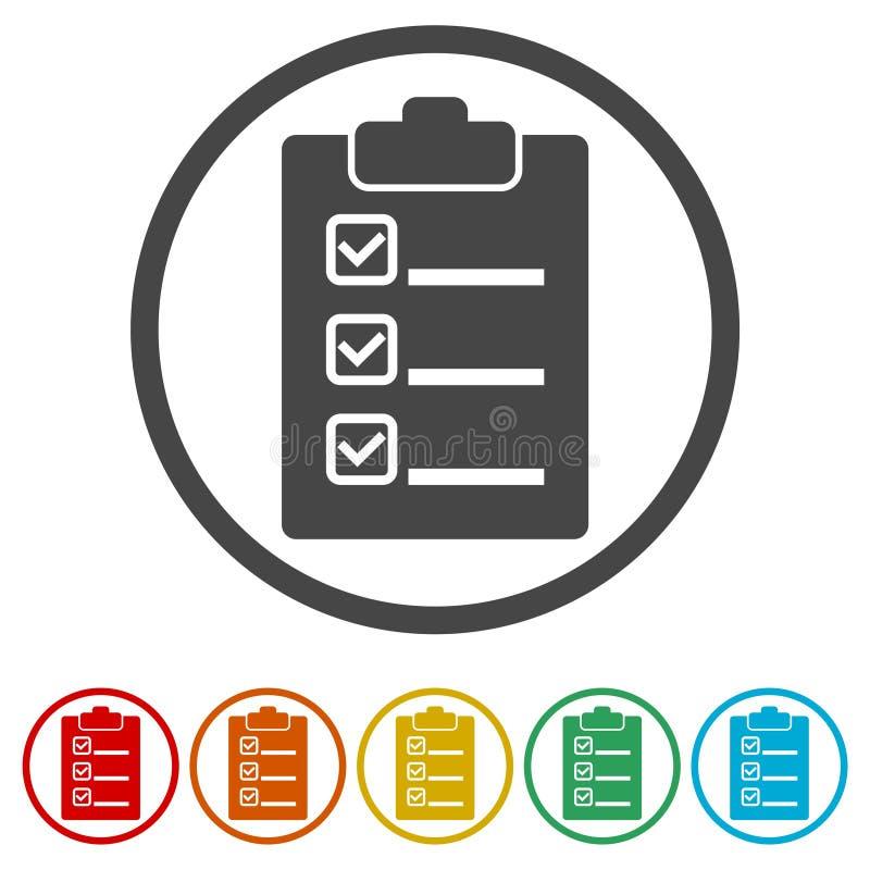 清单象,包括的6种颜色 库存例证